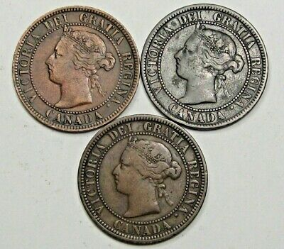 3-VICTORIA Canadian Large Cents. CANADA. 1876-h, 1899, 1896. #20