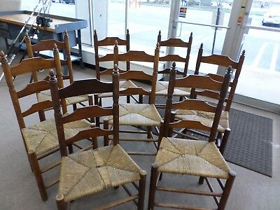 8-Wallace Nutting Ladder Back Chairs,cane Seat, Block Brand #393.