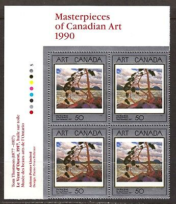 Canada Stamp #1271 - The West Wind (1990) 50¢ UL Plate Block  MNH