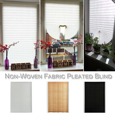 Blackout Blind Pleated Blind Curtain Home Office Self Adhesive Window Curtain UK