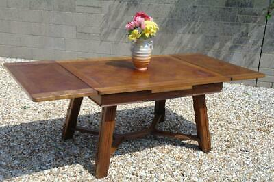 Antique Large French Oak Parquetry Top Extending Dining Table Chunky Carved Legs