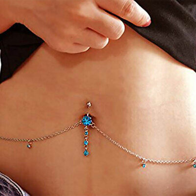50 Style Rhinestone Dangle Navel Belly Button Ring Barbell Piercing