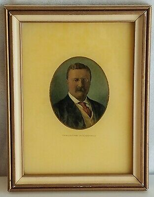 "TEDDY Theodore ROOSEVELT PICTURE Engraving Painting Glass 6"" Antique Original"