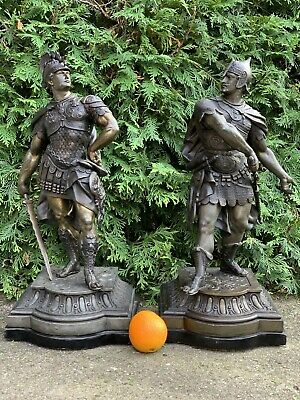Finest Pair Ansonia Gilbert Waterbury Warrior Spelter Clock Statue A. Waagen