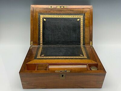 19th Century English Mahogany Lap Desk Brass Mountings w/ Inkwell & Leather Int.