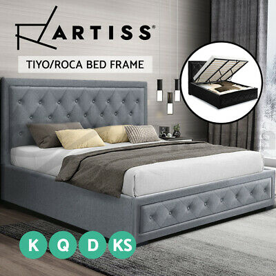 Artiss Bed Frame King Single Double Queen Size Gas Lift Base With Storage