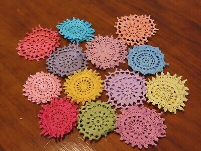26 Crochet motifs mini doilies 6-7 cm  rainbow colours in pairs
