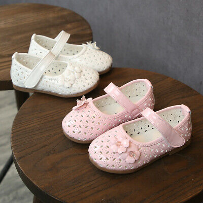 Toddler Infant Baby Girls Sweet Flower Crystal Hollow Out Princess Shoes Sandals