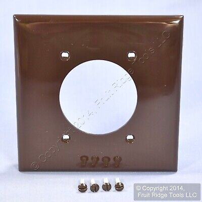 "New Leviton Brown Dryer Range Welder 2.15"" Outlet 2 Gang Cover Wall Plate 80726"