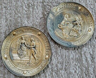 Vintage Embossed Brass Decorative Wall Plates Colonial Couple England