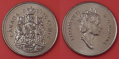Brilliant Uncirculated 1993 Canada 50 Cents From Mint's Roll