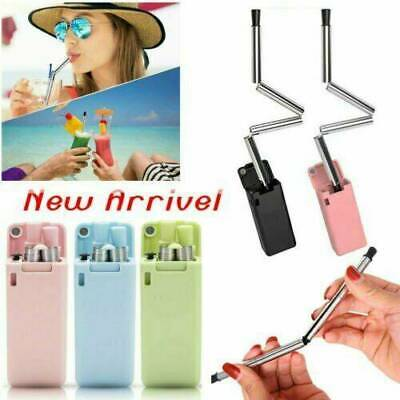 2x Collapsible Reusable Straw Stainless Final Travel Outdoor Drinking Portable
