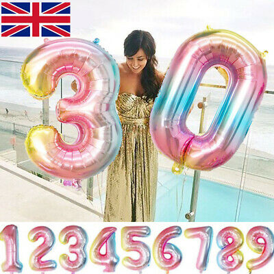 """40"""" Rainbow Number Age Balloons Giant Foil Happy Birthday Party Decorations 0-9"""