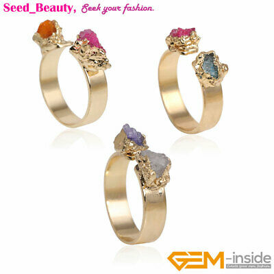 Yellow Gold Plated Double Multicolor Quartz Healing Druzy Drusy Adjustable Ring