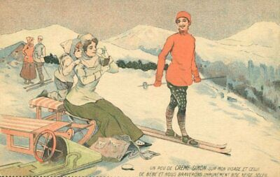 SKIING MAN AND BEAUTY - FINE OLD ART DECO postcard with ADVERTISEMENT