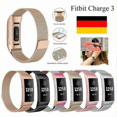 für Fitbit Charge 3 Armband Edelstahl Ersatz Band Replacement Strap Milanese