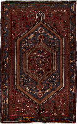 "Hand-knotted Oriental Carpet 4'6"" x 7'3"" Traditional Vintage Wool Rug"