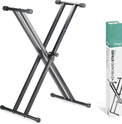 Stagg KXSQ5 Double Braced Stage Piano Keyboard Stand Height Adjustable Foldable