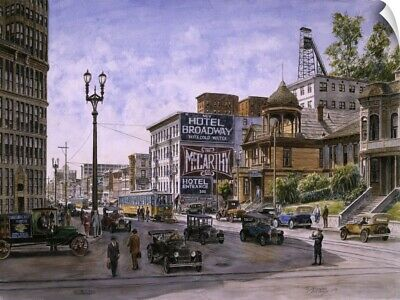 """""""Los Angeles: Temple and Broadway"""" Wall Decal"""