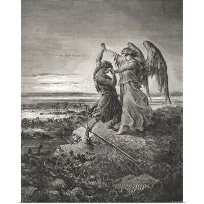 Poster Print Wall Art entitled Jacob Wrestling With The Angel