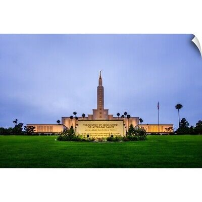 """""""Los Angeles California Temple Sign at Night, Los Angeles, California"""" Wall D"""