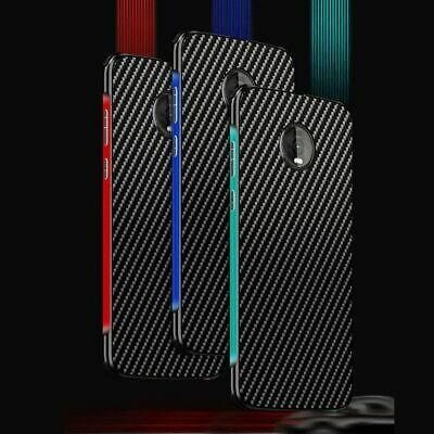 For Motorola Moto Z4 Shockproof Aluminum Metal Bumper Carbon Fiber PC Case Cover