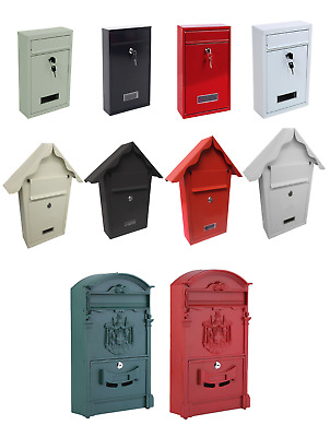 Post Box Large Steel Postbox Lockable Outside Letter Mail Wall Mounted Keys