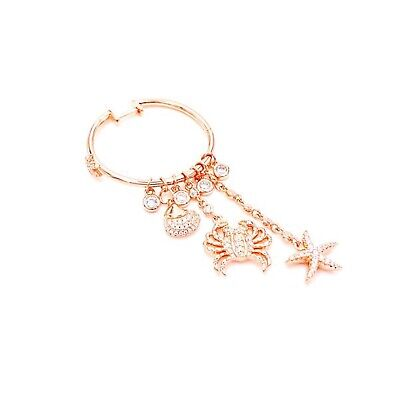 Charm Hoop Crab Earrings CZ Gemstone 925 Solid Silver 14K Rose Gold Plated