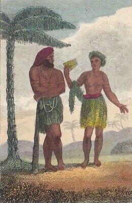 1828 Two Antique Engravings - Man & Woman of Tanna (Vanuatu) & Tahitian Chiefs
