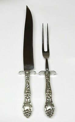 """Antique 1910 Frank Whiting """"Lily"""" """"Floral"""" Sterling Silver Carving Set"""