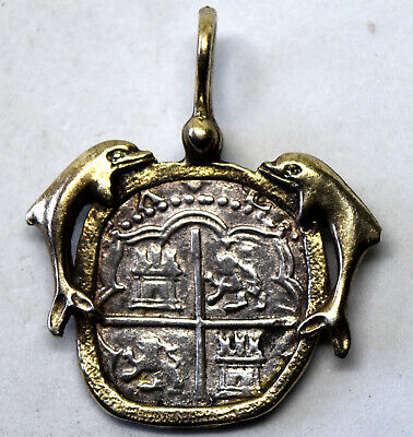 Ancient 1600s Rare Spanish Colony Mexico Silver Coin Pendant