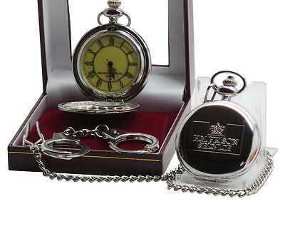 HM PRISON Pocket Watch Jail Warden Officer Luxury Gift Set Handcuffs Keyring