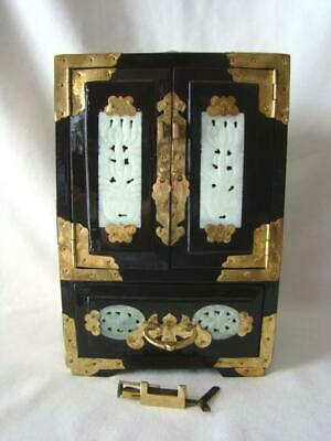 Vintage CHINESE Rosewood Brass Butterfly JEWELRY BOX Nephrite Jade Panels, Lock