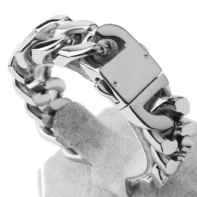 """8.5"""" 20mm Mens Chain Curb Cuban Link Silver Tone Stainless Steel Bracelet Bangle"""