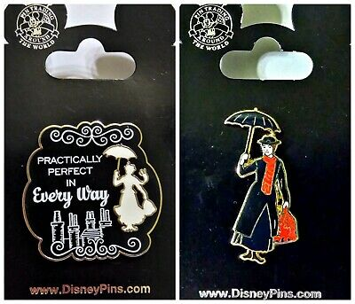 Disney Parks 2 Pin Lot Mary POPPINS Practically Perfect Every Way + black dress