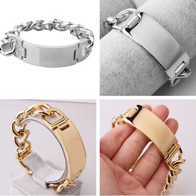HEAVY Mens Chain Gold Silver 316L Stainless Steel Bracelet 20MM Curb Cuban Link