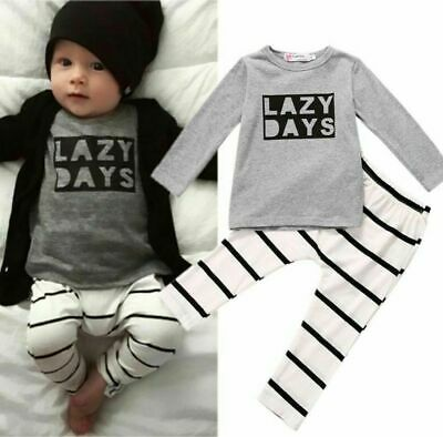 Autumn Newborn Baby Boy Girl 2PCS Cotton Outfits Clothes Tops T-shirt Pants Set