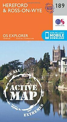 OS Explorer Map Active (189) Hereford and Ross-on-Wye by Ordnance Survey Book