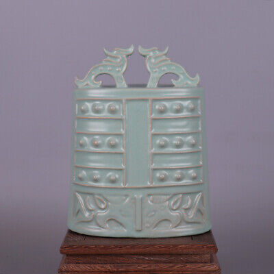 Chinese Song Dynasty porcelain Dragon Statue Pray Bells Zhong Bell chimes