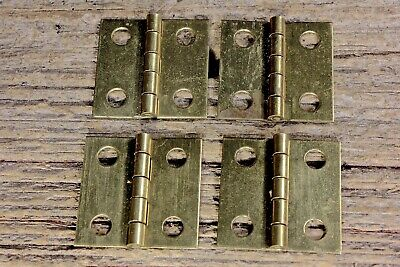 "4 old door Butt hinges all solid brass 1 x 1"" jewelry box vintage small little"