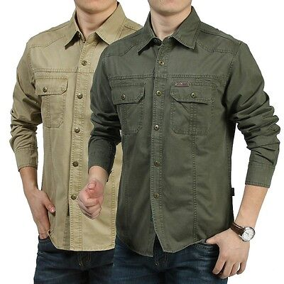 HOT Men's Casual Long Sleeve Army Cargo Shirt Work Military Shirt Double Pockets