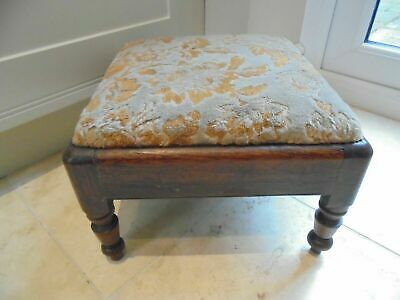 Antique Victorian square footstool, turned oak framed stool, removable seat