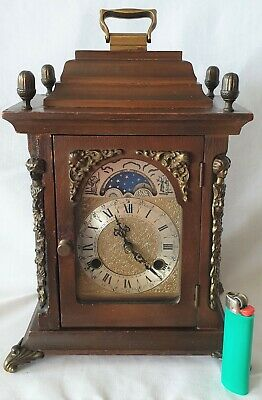 Old Warmink Mantel Clock Shelf Moon Dial Double Bell Strike 8 Day Key Wind