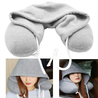 Adults Hooded Travel With Hat Drawstring Portable U-shaped Flight Neck Pillow