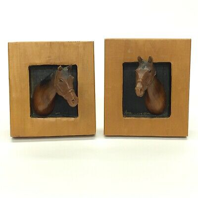 """Pair Vintage Wood Hand Carved Horse In Window Plaques 3D Relief Wall Art 6 x 5"""""""