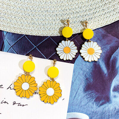 Fashion Girls Yellow White Flower Earrings Statement Dangle Drop Earrings Women