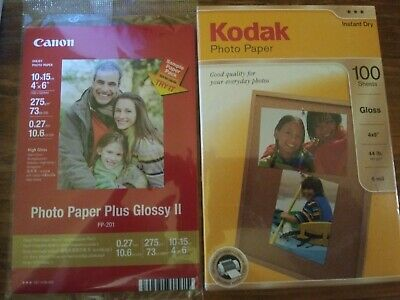 Kodak Photo Paper 100 Pack/Sheets 4x6 Instant Dry Gloss 44 lb 6 Mil