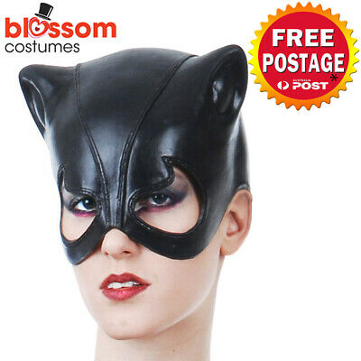 AC677 Black Vinyl Cat Costume Mask Masquerade Cat Woman Catwoman Kitty Feline