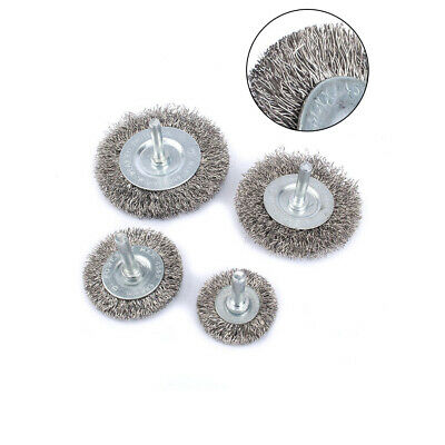4Pc Stainless Steel Wire Wheel Combination Crimped Wire Brush 38-75mm 0.3Wire