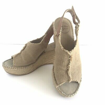 6aa7161ae79 MAYPOL PEEP TOE Espadrille Sage Green Ankle Lace -Up Wedge Size 37 ...